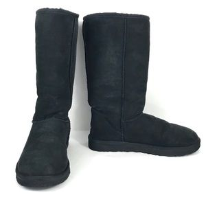 Ugg Classic Tall Boot 7 Foldover Black Fleece 5815